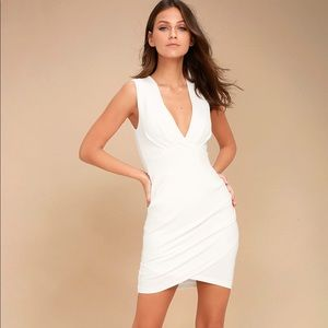 Lulu's Cocktail Hour Ivory Wrap Dress